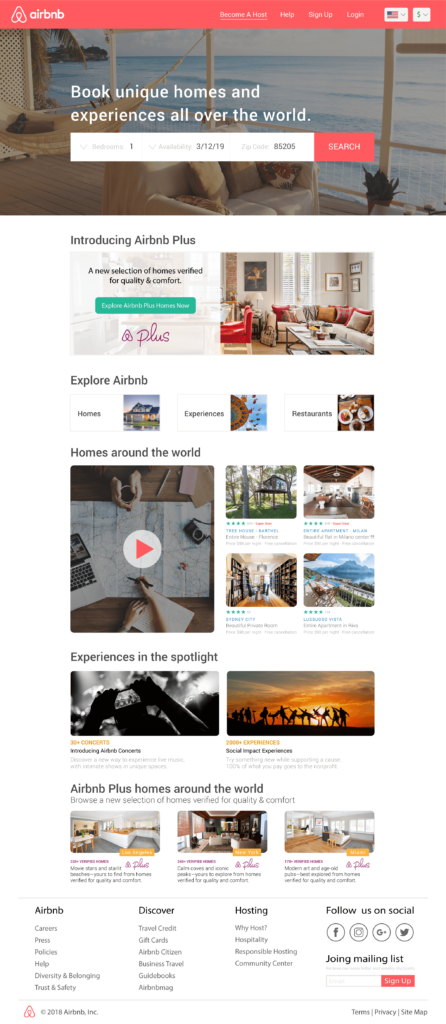 User Interface and User Experience Design, Air Bnb website re-design Concept, by Travis Chenoweth, Phoenix Arizona