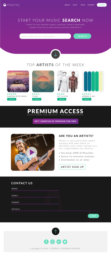 User Interface and User Experience Web Design portfolio, Sales platform for musicians by Travis Chenoweth, Phoenix Arizona