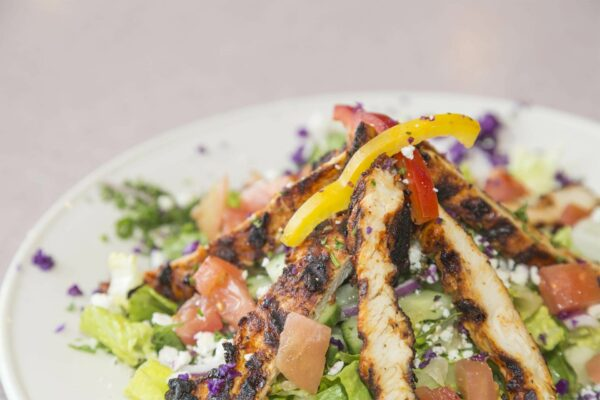 Product Food Photography, Mediterranean Chicken Salad from Aristo Cafe, Torrance, CA - by photographer Travis Chenoweth