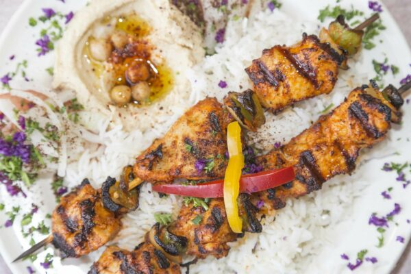 Product Food Photography, Chicken Kabob from Aristo Cafe Mediterranean, Torrance, CA - by photographer Travis Chenoweth